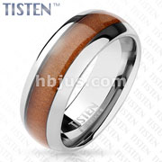Wood Inlay Center Classic Dome Tungsten Titanium Alloy TISTEN Rings