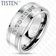 Lined CZ CNC Set Shiny Center and Brushed Beveled Edges Tungsten Titanium Alloy TISTEN Rings