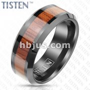Wood Inlaid Center with Beveled Edges Black PVD Tungsten Titanium Alloy TISTEN Rings