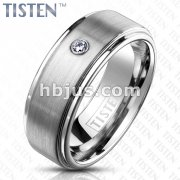 CZ Bezel Set on Brushed Center with Mirror Polished Stepped Edges TISTEN Rings