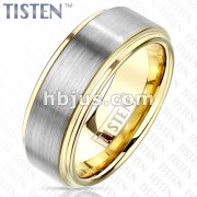 Brushed Center and PVD Gold Stepped Edges and Inside Tungsten Titanium Alloy TISTEN Rings
