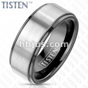 Brushed Center and PVD Black Stepped Edges and Inside Tungsten Titanium Alloy TISTEN Rings