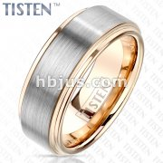 Brushed Center and PVD Rose Gold Stepped Edges and Inside Tungsten Titanium Alloy TISTEN Rings