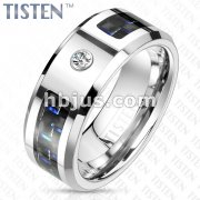 Blue and Black Carbon Fiber Inlaid Center with CZ Tungsten Titanium Alloy TISTEN Ring