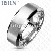 Brushed Center and Glossy Beveled Edges Tisten Rings
