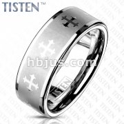 Celtic Cross Around Brushed Finish Center with Glossy Edges Tisten Rings