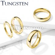 Plain Dome Band Gold PVD Tungsten Carbide Rings