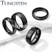Plain Dome Band Black PVD Tungsten Carbide Rings