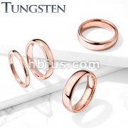 Plain Dome Band Rose Gold PVD  Tungsten Carbide Rings