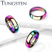 Plain Dome Band Rainbow PVD  Tungsten Carbide Rings