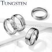 Brushed Center Shiny Edges Tungsten Carbide Rings