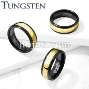 Gold Center Black IP Tungsten Carbide Rings