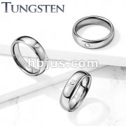 CZ Set Dome Tungsten Carbide Rings
