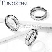 CZ Set Dome Tungsten Carbide Rings