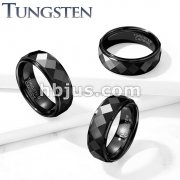 Dia Faceted Stepped Edges Black PVD  Tungsten Carbide Rings