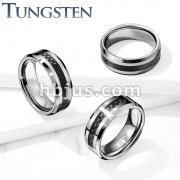 Carbon Fiber Center Beveled Edges Tungsten Carbide Rings