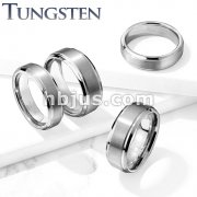 Brushed Center Stepped Edges Tungsten Carbide Rings