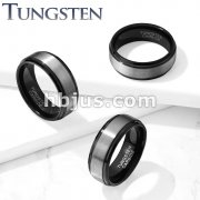 Brushed Center Black IP Stepped Edges Tungsten Carbide Rings