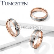Brushed Center Rose Gold IP Stepped Edges Tungsten Carbide Rings