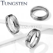 CZ Set Brushed Center Beveled Edges Tungsten Carbide Rings