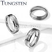 CZ Set Brushed Center Beveled Edges Tungsten Carbide Rings