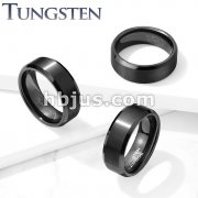 Brushed Center Black Beveled Edges Tungsten Carbide Rings