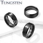 Brushed Center Gun Metal Beveled Edges Tungsten Carbide Rings