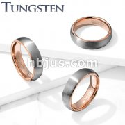 Brushed Finish Surface and Rose Gold PVD Inside Tungsten Carbide Classic DomeRings