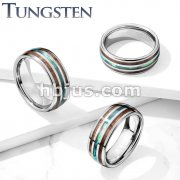 Abalone Center and Wood Inlays Dome Tungsten Carbide Rings