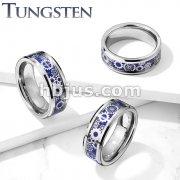 Steam Punk Gears Blue Carbon Fiber Inlay Beveled Edges Tungsten Carbide Rings