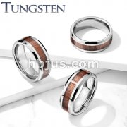 Wood Inlay Beveled Edges Tungsten Carbide Rings