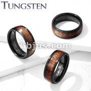 Wood Inlay Beveled Edges BlackTungsten Carbide Rings