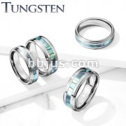 Abalone Inlay Center Stepped Edges Tungsten Carbide Rings