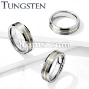 Brushed Finish Gold IP Groove Beveled Edges Tungsten Carbide Rings