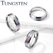 Brushed Finish Rainbow IP Groove Beveled Edges Tungsten Carbide Rings