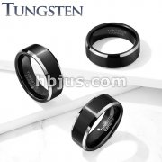Black Brushed Center Black PVD Stepped Edges Tungsten Carbide Rings