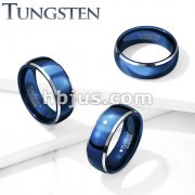 Blue IP Center Steel Beveled Edges Dome Tungsten Carbide Rings