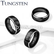 Black Center Steel Beveled Edges Dome Tungsten Carbide Rings