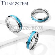 Turquoise Inlay Center Beveled Edges Tungsten Carbide Rings