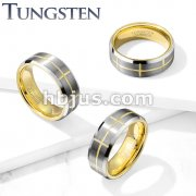 Brushed Center Gold Cross Grooved Beveled Edges Tungsten Carbide Rings