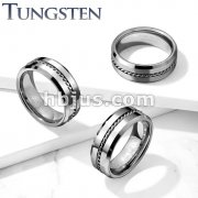 Steel Wire Center Beveled Edges Tungsten Carbide Rings