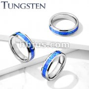 Opal Inlay Center Beveled Edges Tungsten Carbide Rings