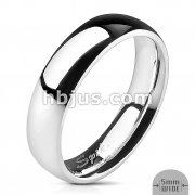 Assorted Sizes of 316L Stainless Steel Glossy Mirror Polished Traditional Wedding Band Ring