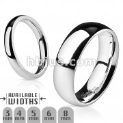 316L Stainless Steel Glossy Mirror Polished Stackable Traditional Wedding Band Ring