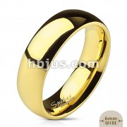 Assorted Sizes of 316L Stainless Steel Gold IP Glossy Mirror Polished Traditional Wedding Band Ring