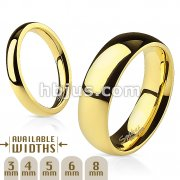 316L Stainless Steel Gold IP Glossy Mirror Polished Stackable Traditional Wedding Band Ring