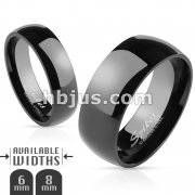316L Stainless Steel Glossy Mirror Polished Black IP Dome Band Ring