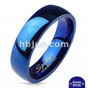 Assorted Sizes of 316L Stainless Steel Glossy Mirror Polished Blue IP Dome Band Ring