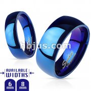 Glossy Mirror Polished Blue IP Dome Band Ring 316L Stainless Steel