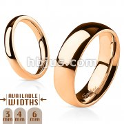 316L Stainless Steel 6mm Wide Glossy Mirror Polished Rose Gold IP Dome Band Ring